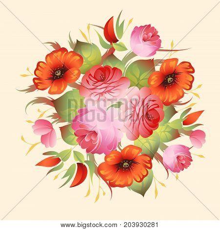 Vintage red flower background, vector ornate template