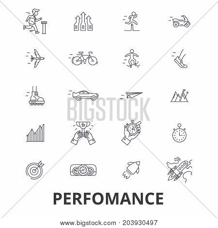 Perfomance, success, achievement, business goal, milestone line icons. Editable strokes. Flat design vector illustration symbol concept. Linear signs isolated on background
