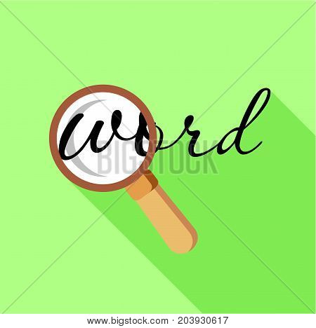 Search word with magnifying glass icon. Flat illustration of search word with magnifying glass vector icon for web design