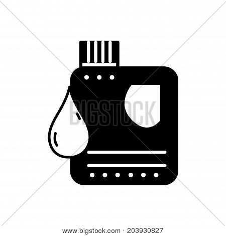 contour gasoline bottle with drop to car industrial vector illustration
