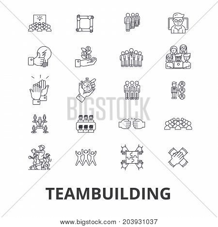 Teambuilding, community, teamwork, leadership, team spirit, business company line icons. Editable strokes. Flat design vector illustration symbol concept. Linear signs isolated on background