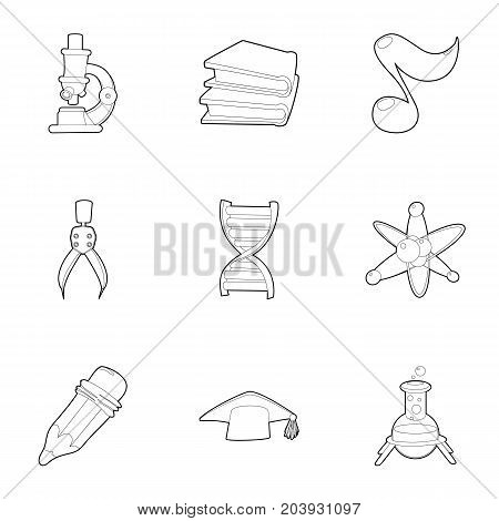 College icons set. Outline set of 9 college vector icons for web isolated on white background