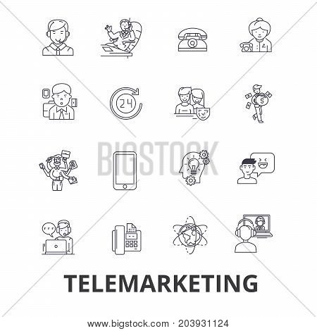 Telemarketing, call center, telesales, marketing, direct sales line icons. Editable strokes. Flat design vector illustration symbol concept. Linear signs isolated on background