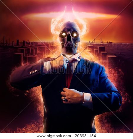 Politician man with fire horned skull head in black suit straightens a red tie on nuclear blast city background.