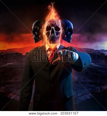 Politician man with fire skull and three heads in black suit pointing finger with red tie on battlefield war city background.