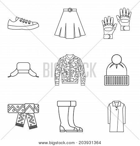 Fashion winter clothes icon set. Outline set of 9 fashion winter clothes vector icons for web design isolated on white background