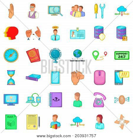 All day icons set. Cartoon style of 36 all day vector icons for web isolated on white background