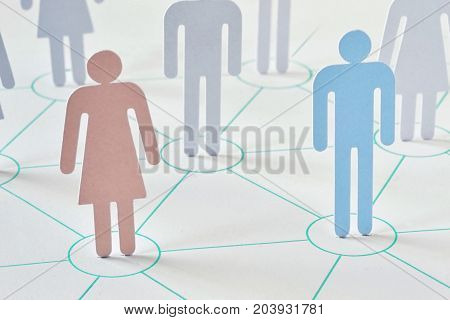 Teamwork and network concept - man and woman working together as a team