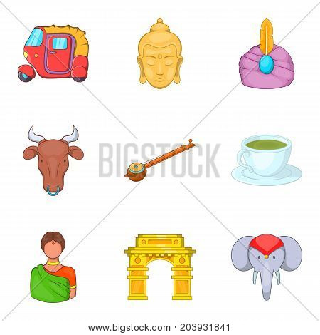 Indian castes icons set. Cartoon set of 9 indian castes vector icons for web isolated on white background