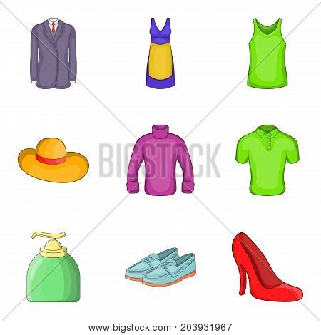 Summer clothes icon set. Cartoon set of 9 summer clothes vector icons for web design isolated on white background