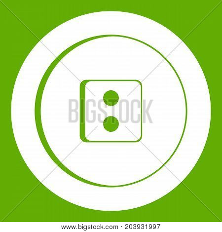 Dress round button icon white isolated on green background. Vector illustration