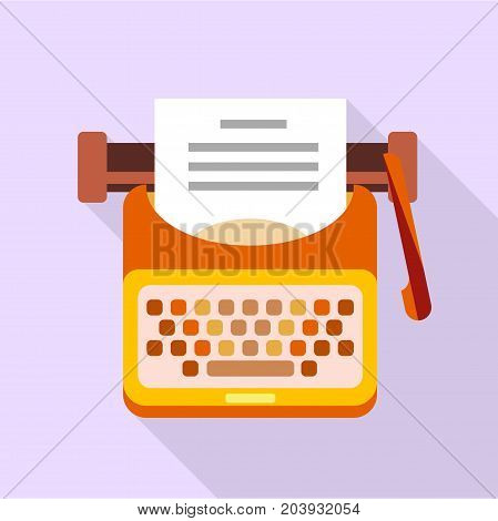 Old typewriter icon. Flat illustration of old typewriter vector icon for web design
