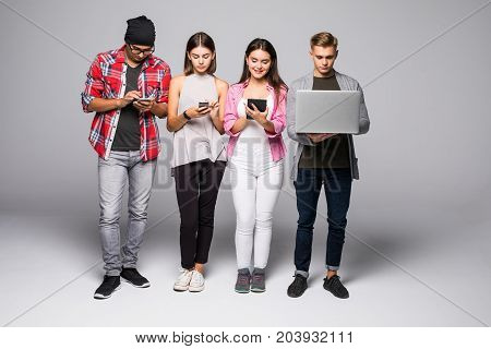 Students Friends Using Gadgets Isolated On White