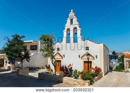 Church In Traditional Creten Village Margarites Famous For Handmade Ceramics, Crete, Greece