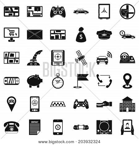 Address icons set. Simple style of 36 address vector icons for web isolated on white background
