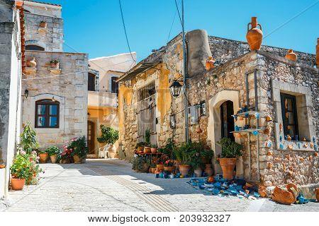 Traditional Creten Village Margarites Famous For Handmade Ceramics, Crete, Greece