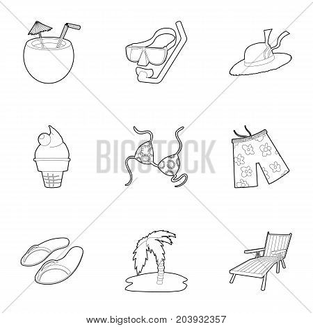 Summer vacation icons set. Outline set of 9 summer vacation vector icons for web isolated on white background