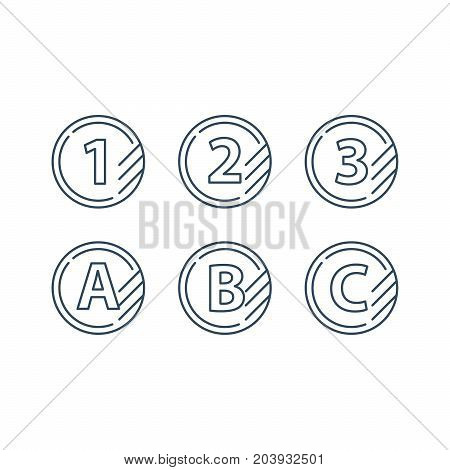 Tokens with numbers one two three and letters A B C, first second third level, upgrade concept, round classification mono line vector icons
