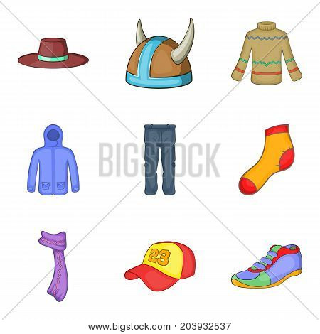 Winter clothes icon set. Cartoon set of 9 winter clothes vector icons for web design isolated on white background