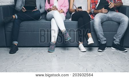 Diversity People Connection Digital Devices Browsing Concept Isolated