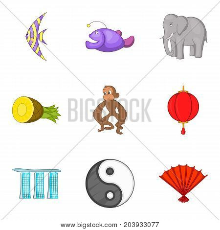 Must see places icons set. Cartoon set of 9 must see places vector icons for web isolated on white background