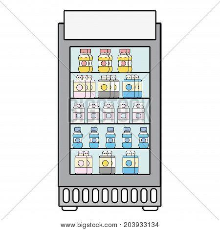 supermarket fridge with fresh drinks beverage vector illustration