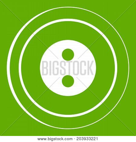 Button icon white isolated on green background. Vector illustration