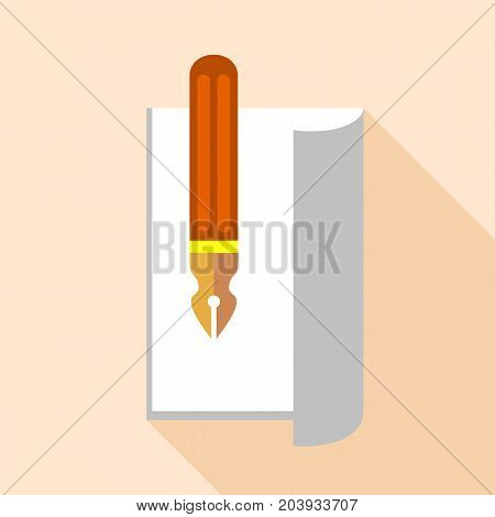 Pen with ink on paper icon. Flat illustration of pen with ink on paper vector icon for web design