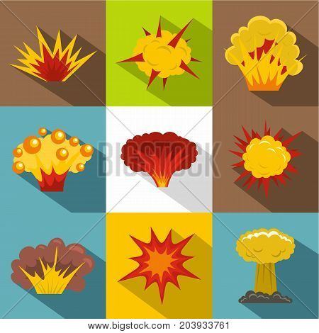 Explosion destruction icon set. Flat style set of 9 explosion destruction vector icons for web design
