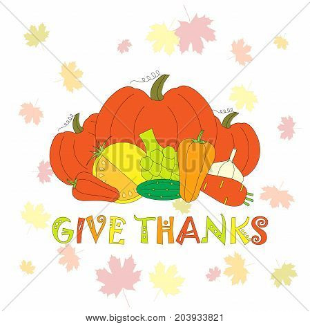 Typography flat design banner Give thanks for Thanksgiving day with vegetables and maple leaves on light blue stock vector illustration