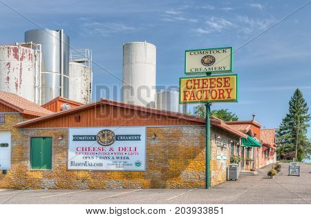 COMSTOCK WI/USA - SEPTEMBER 3 2017: Comstock Creamery and cheese store. Comstock Creamery is owned by the Ellsworth Cooperative Creamery.