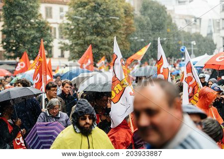 Rainy Day Over Political March During A French Nationwide Day Against Macrow Labor Law