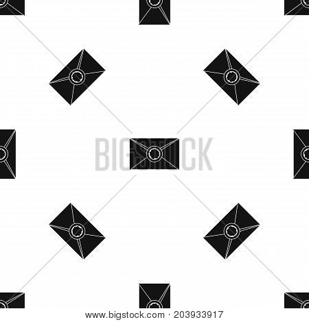 Envelope with red wax seal pattern repeat seamless in black color for any design. Vector geometric illustration