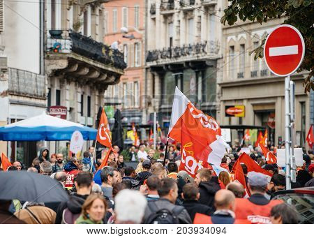 Full Streets With Protestors Political March During A French Nationwide Day Against Macrow Labor Law