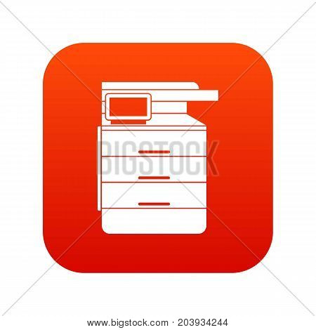Multipurpose device, fax, copier and scanner icon digital red for any design isolated on white vector illustration