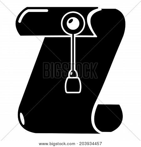 Manuscript and seal message icon. Simple illustration of manuscript and seal message vector icon for web