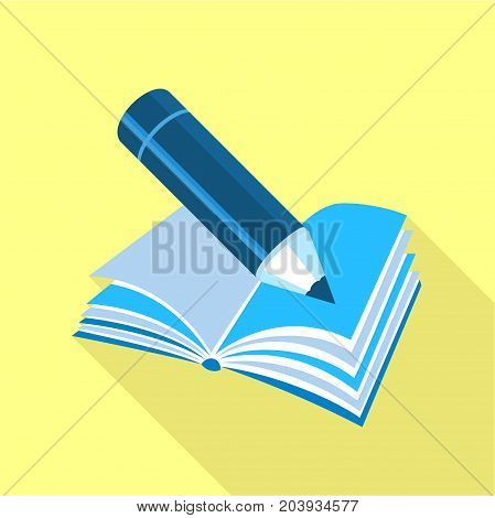 Blue pencil on book icon. Flat illustration of blue pencil on book vector icon for web design
