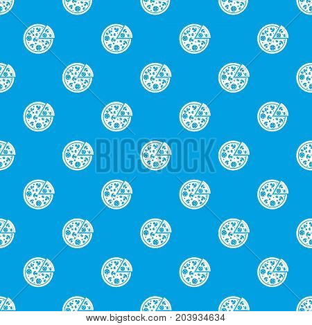 Delicious italian pizza lifted slice one pattern repeat seamless in blue color for any design. Vector geometric illustration