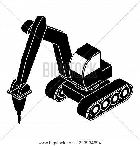 Drill tractor icon. Simple illustration of drill tractor vector icon for web design isolated on white background
