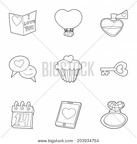 Valentine day and wedding icons set. Outline set of 9 valentine day and wedding vector icons for web isolated on white background