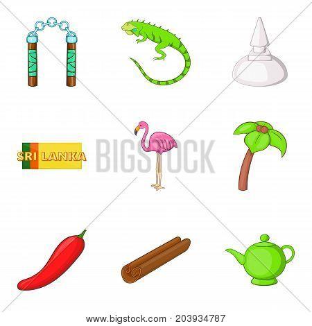 Sri Lankan lifestyle icons set. Cartoon set of 9 sri Lankan lifestyle vector icons for web isolated on white background