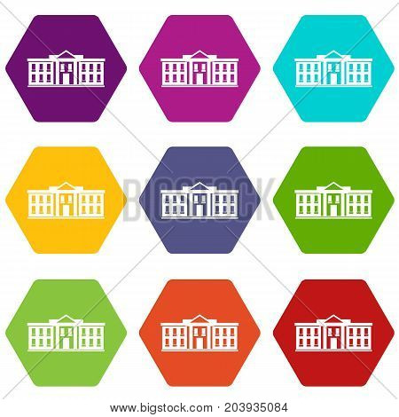 White house USA icon set many color hexahedron isolated on white vector illustration