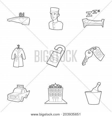 Hotel resort icons set. Outline set of 9 hotel resort vector icons for web isolated on white background