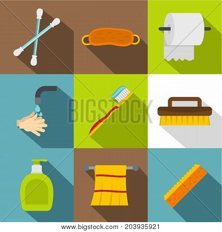 Morning hygiene icon set. Flat style set of 9 morning hygiene vector icons for web design