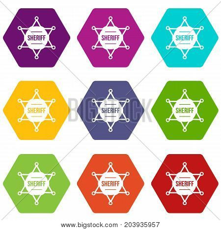Sheriff badge icon set many color hexahedron isolated on white vector illustration