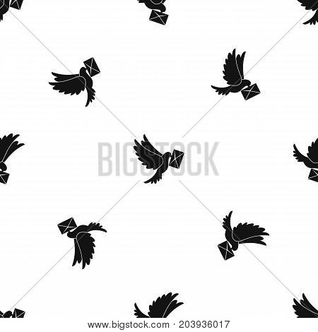 Dove carrying envelope pattern repeat seamless in black color for any design. Vector geometric illustration