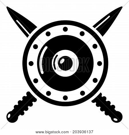 Medieval shield and swords icon. Simple illustration of shield and swords vector icon for web
