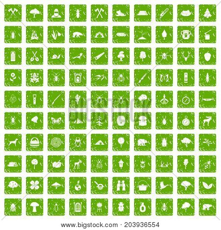 100 forest icons set in grunge style green color isolated on white background vector illustration