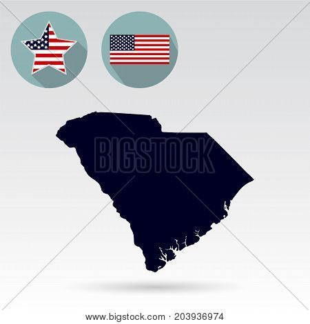 Map of the U.S. state of South Carolina. American flag, star