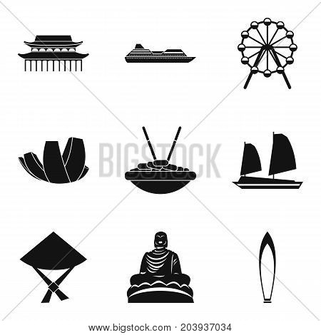 Study of buddhism icons set. Simple set of 9 study of buddhism vector icons for web isolated on white background